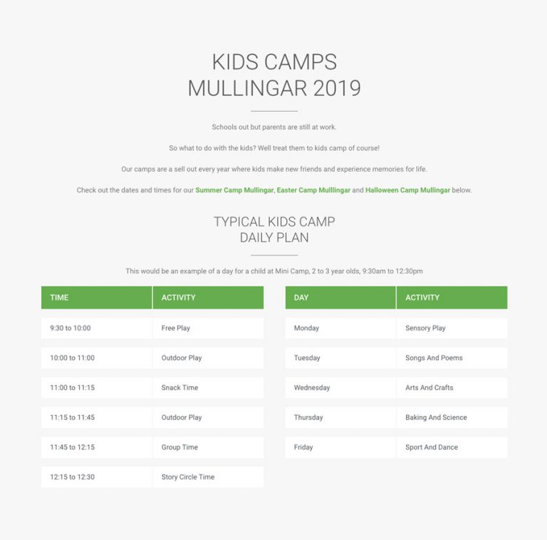 camp timetable