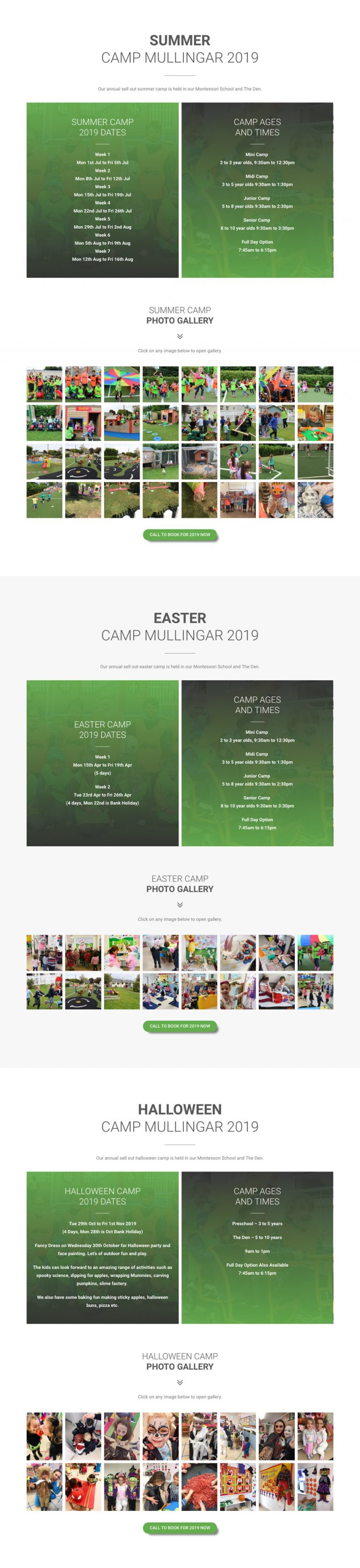 camps dates