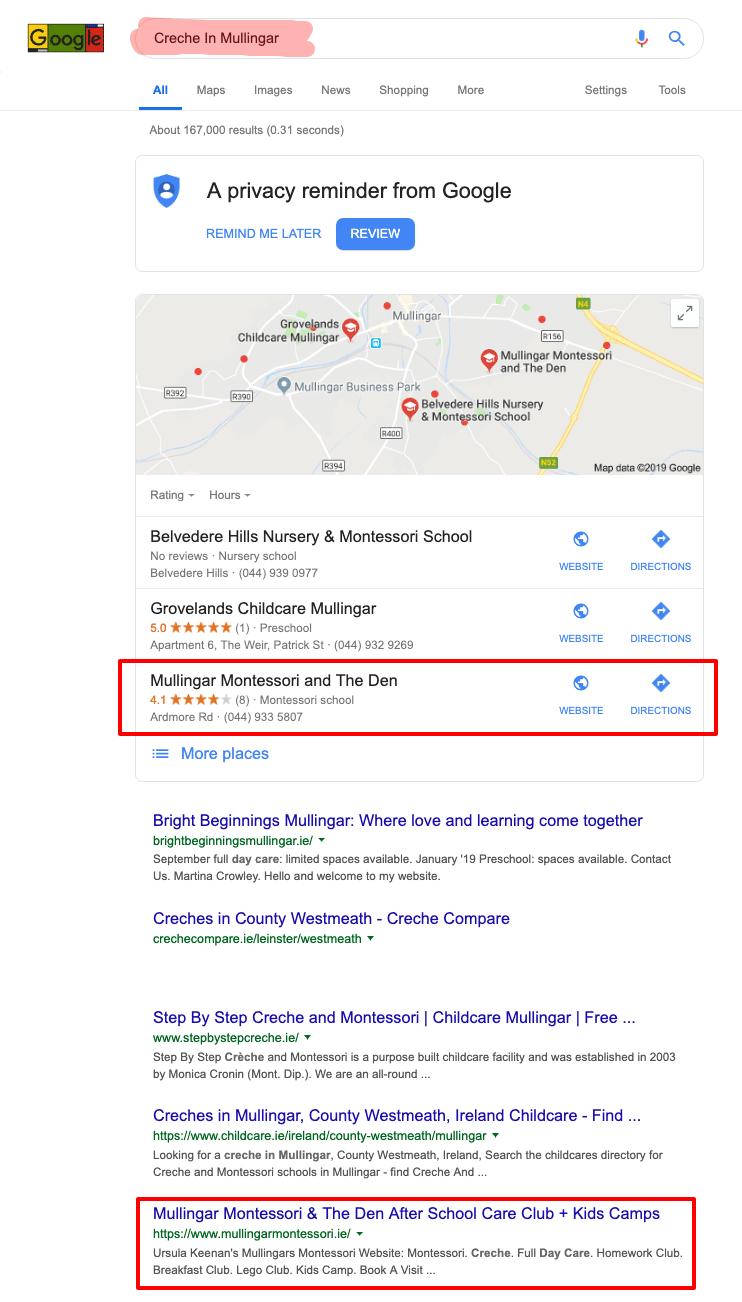 creche in mullingar google search