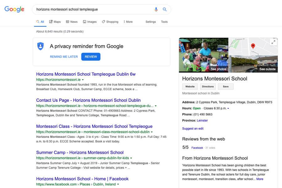 google search horizons