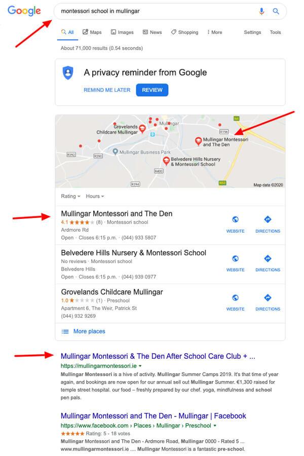 google search results montessori in mullingar
