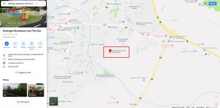 mullingar montessori and the den google maps