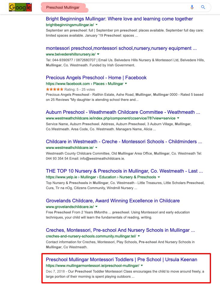 preschool mullingar google search