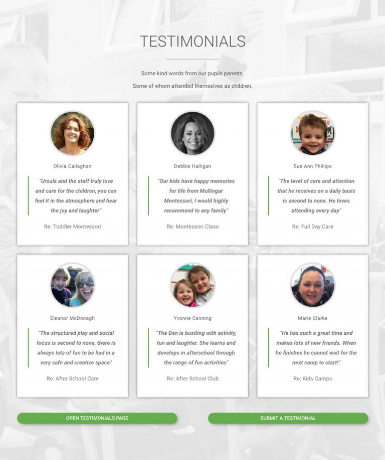 testimonials section